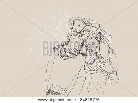 Young parents with little child. Happines. Vector illustration