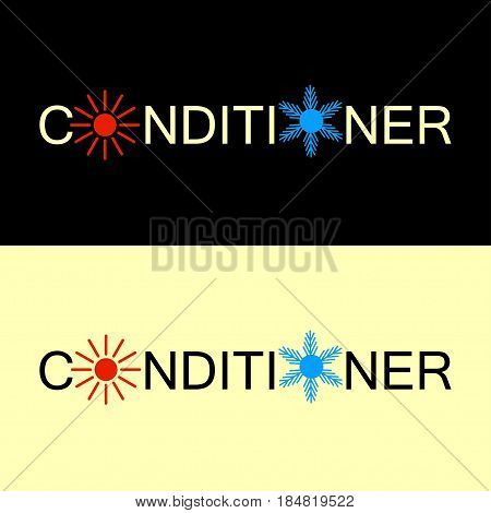 Hot and cold conditioner logo. Climate symbol icon. Illustration abstract background with symbol of climate balance - sun and snowflake. Vector