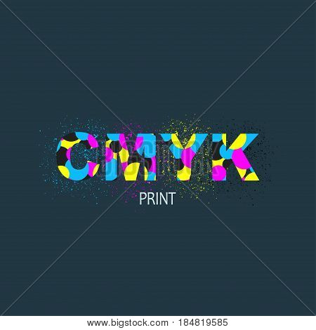 Vector CMYK logo concept. Logotype for print service business. Printing technology emblem. Printing house logo with ink splashes elements in a CMYK color scheme isolated on black background.
