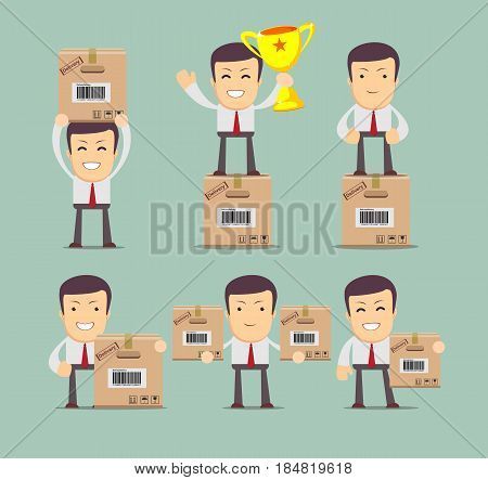Set of delivery service man with box . Stock vector collection, illustration for poster, greeting card, website, ad, business presentation, advertisement design.