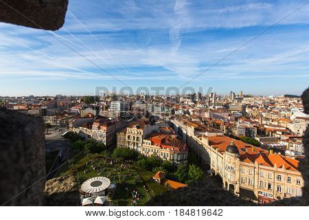 PORTO, PORTUGAL - APR 15, 2017: View of old Porto downtown from Clerigos Tower. City of Porto was elected from 20 selected Best European Destination 2017 and won this prestigious title.
