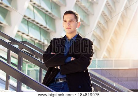 Confidence And Charisma. Portrait Of Successful And Confident Business Man Dressed In Black Coat Sta