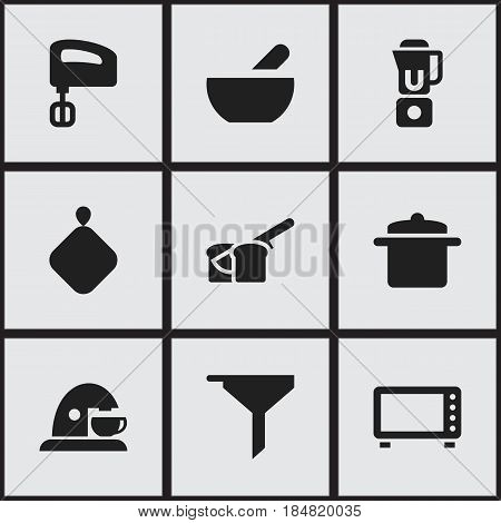 Set Of 9 Editable Meal Icons. Includes Symbols Such As Cookware, Hand Mixer, Bakery. Can Be Used For Web, Mobile, UI And Infographic Design.