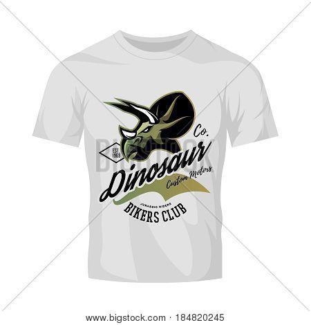 Vintage American furious dinosaur bikers club tee print vector design isolated on white t-shirt mockup. Savage monster street wear t-shirt emblem. Premium quality wild reptile superior mascot logo concept illustration.
