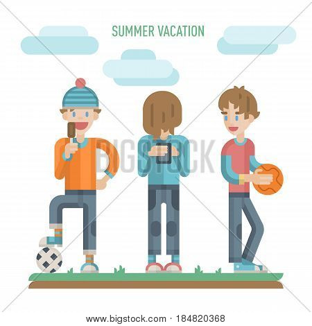Illustration of group of happy teenagers having fun on the couch. Playing basketball, football and phone games and enjoying time together. Teenagers activities in vector.