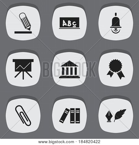 Set Of 9 Editable School Icons. Includes Symbols Such As Victory Medallion, Writing, Bookshelf And More. Can Be Used For Web, Mobile, UI And Infographic Design.