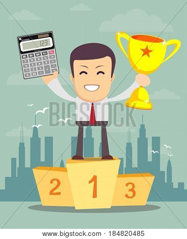 Cartoon businessman or accountant is showing an electronic desktop calculator and winner cup. Use as business presentation, financial report or advertisement design