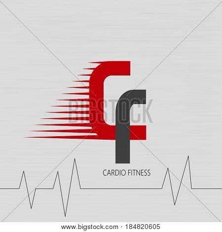 Logo of cardio fitness club. Vector illustration