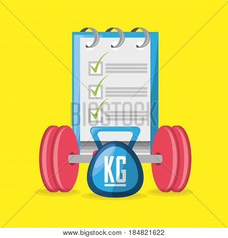 weights and weighing mashine with tips to carry healthy lifestyle, vector illustration