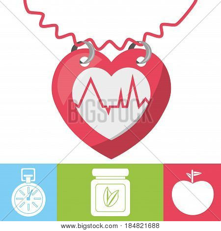 heartbeat with chronometer, natural pills and apple, vectoe illustration