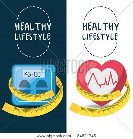 weighing mashine, heartbeat and measuring to carry healthy lifestyle, vector illustration