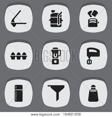 Set Of 9 Editable Meal Icons. Includes Symbols Such As Paprika, Filtering, Crusher And More. Can Be Used For Web, Mobile, UI And Infographic Design.
