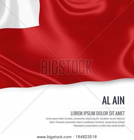 The United Arab Emirates state Al Ain flag waving on an isolated white background. State name and the text area for your message. 3D illustration.
