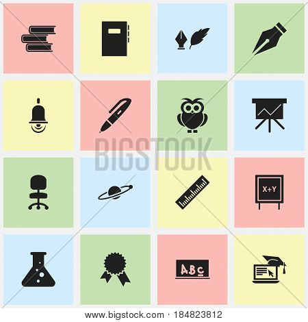 Set Of 16 Editable University Icons. Includes Symbols Such As Alarm Bell, Library, Workbook And More. Can Be Used For Web, Mobile, UI And Infographic Design.