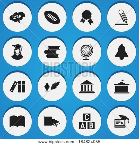 Set Of 16 Editable Science Icons. Includes Symbols Such As Bell, Dictionary, Library And More. Can Be Used For Web, Mobile, UI And Infographic Design.