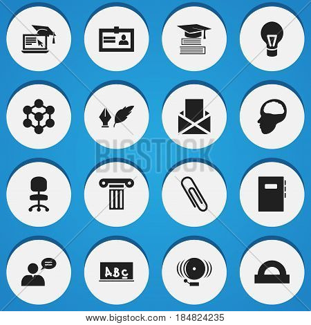 Set Of 16 Editable Graduation Icons. Includes Symbols Such As Certification, Staple, Distance Learning And More. Can Be Used For Web, Mobile, UI And Infographic Design.