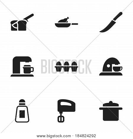 Set Of 9 Editable Cooking Icons. Includes Symbols Such As Saltshaker, Cookware, Grill And More. Can Be Used For Web, Mobile, UI And Infographic Design.