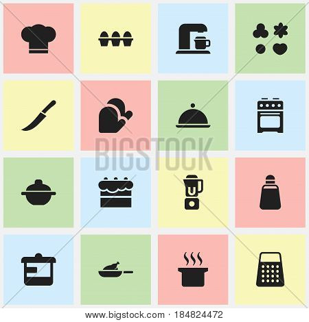 Set Of 16 Editable Food Icons. Includes Symbols Such As Salver, Utensil, Paprika And More. Can Be Used For Web, Mobile, UI And Infographic Design.
