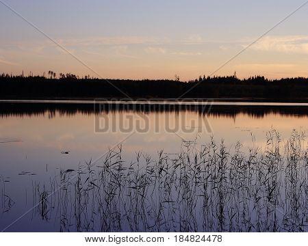Peaceful midsummer night in Finland, in scandinavia