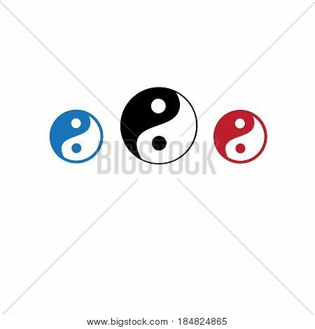 Vector icons of yin yang masculine head and feminine head on white background