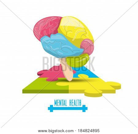 color brain with puzzle mental game, vector illustration