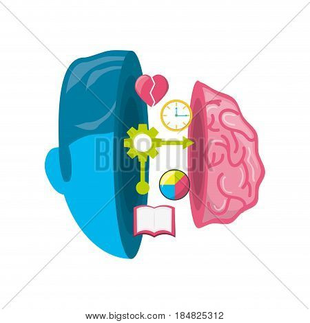 healthy brain with gears process work, vector illustration