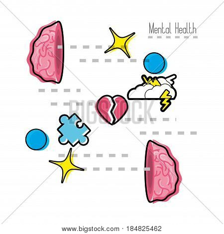 brain open with stars, cloud thunder, puzzle inside, vector illustration