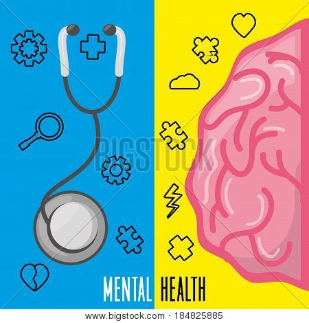 healthy brain with stethoscope treatment, vector illustration design