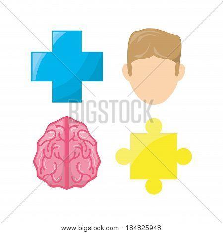 healthy mental of brain symbols, vector illustration design