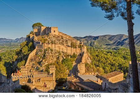 Historical Xativa Castle at Sunset, Valencia Region of Spain