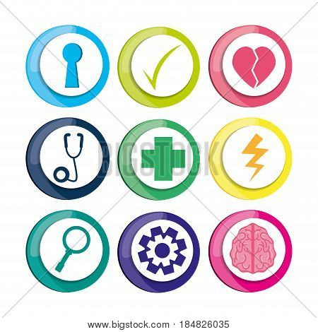 healthy icons to care mentality human, vector illustration