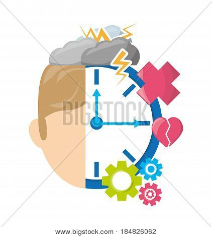 man with healthy mentality care, vector illustration design