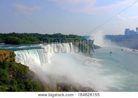Niagara falls from us side higher angle view