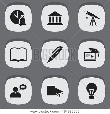 Set Of 9 Editable University Icons. Includes Symbols Such As Distance Learning, Lamp, Museum And More. Can Be Used For Web, Mobile, UI And Infographic Design.