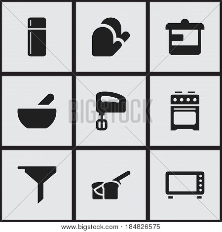 Set Of 9 Editable Cooking Icons. Includes Symbols Such As Bakery, Stove, Kitchen Glove And More. Can Be Used For Web, Mobile, UI And Infographic Design.