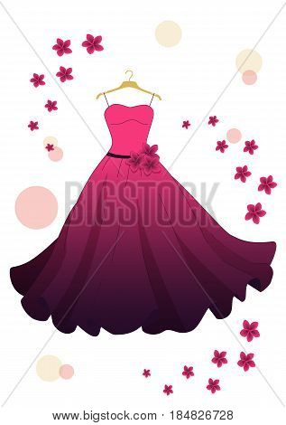 evening pink dress with flowers on hanger isolated on white background