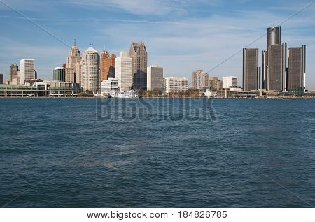 Detroit Skyline Across The Detroit River, November 2016