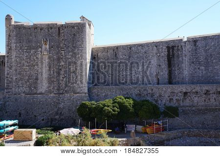 DUBROVNIK, CROATIA - OCTOBER 19, 2016: Stone fortifications surrounding the old town of Dubrovnik