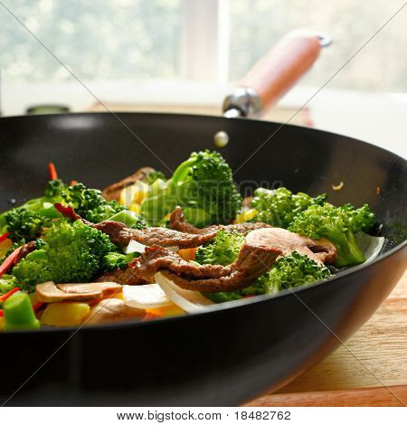 wok stir full of stir fry