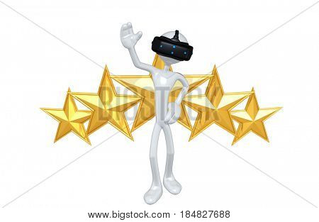 The Original 3D Character Illustration Wearing A Virtual Reality Headset
