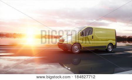 Yellow delivery van on highway. Very fast driving. Transport and logistic concept. 3d rendering