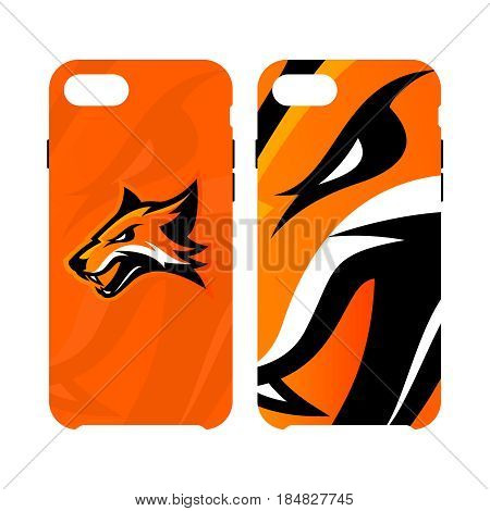 Furious fox sport club vector logo concept smart phone case isolated on white background. Modern professional team badge mascot design. Premium quality wild fox animal cell phone cover illustration.