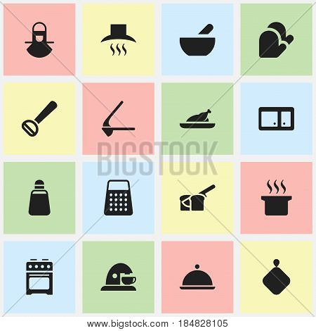 Set Of 16 Editable Meal Icons. Includes Symbols Such As Crusher, Kitchen Hood, Paprika And More. Can Be Used For Web, Mobile, UI And Infographic Design.