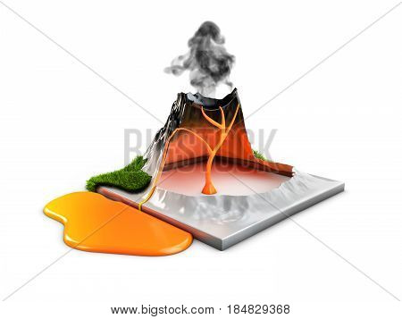 3d illustration. Structure of volcano grass and eruption lava. hot natural eruption