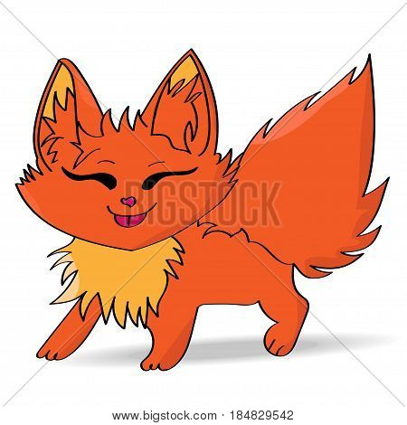 Funny cute cartoonish red fox on white background