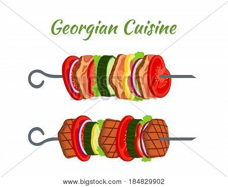 Doner kebab on skewers - fried meat, onion, tomato, cucumber, bell pepper, salad. Georgian cuisine. Made in cartoon flat style.