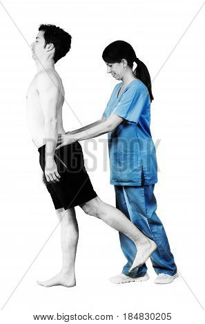 Physiotherapist / Chiropractor Doing A Visual Exploring, Static/ Dynamic Position, Scoliosis, Kyphos