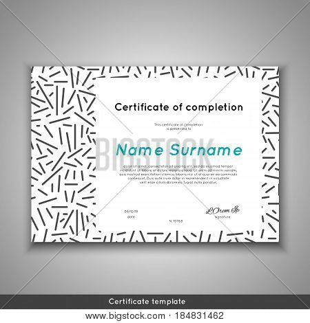 Certificate of appreciation completion achievement graduation diploma or award with line abstract background. Stock vector