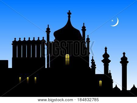 Silhouette of the Vorontsov Palace in Alupka (Crimea) in vector. The Palace in the Oriental style of architecture on the background of the night sky and the crescent