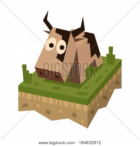 Isometric flat brawn cow on the tile of ground with grass. Geometric farm animal in isometry. Cow on 3d land or soil tile.
